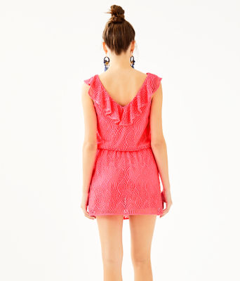 Alessa Romper, Crab Claw Coral Flowing Leaf Lace, large 1