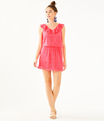 Alessa Romper, Crab Claw Coral Flowing Leaf Lace, large 3