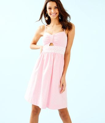 Katlynn Dress, Capri Coral Seersucker, large