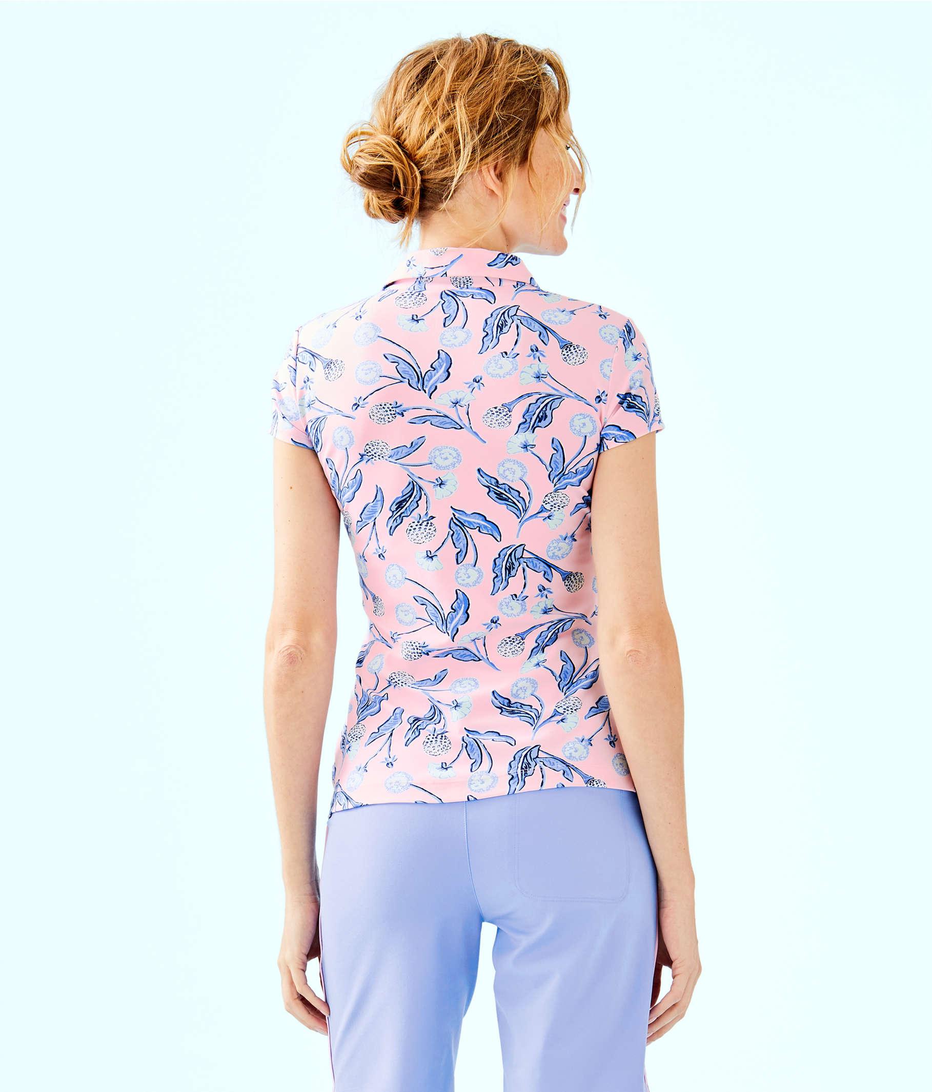 0d4eda31a1ceaf ... UPF 50+ Luxletic Frida Polo Top, Pink Tropics Tint Par Tee Time, large  ...