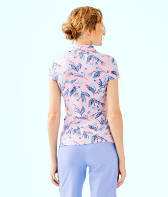 UPF 50+ Luxletic Frida Polo Top, Pink Tropics Tint Par Tee Time, large 1