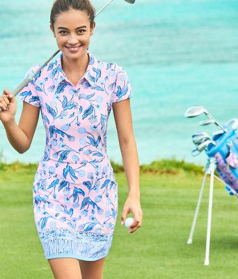 UPF 50+ Luxletic Frida Polo Top, Pink Tropics Tint Par Tee Time, large 3