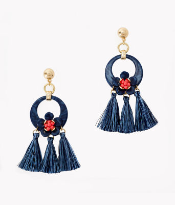 Maritime Earrings, High Tide Navy, large