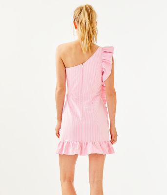 Tiffani One Shoulder Dress, Havana Pink Yarn Dye Seersucker, large 1