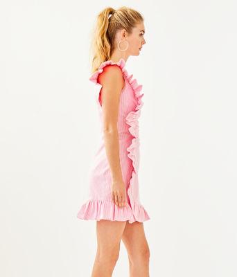 Tiffani One Shoulder Dress, Havana Pink Yarn Dye Seersucker, large 2