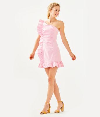 Tiffani One Shoulder Dress, Havana Pink Yarn Dye Seersucker, large