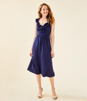 Leena Midi Dress, True Navy, large