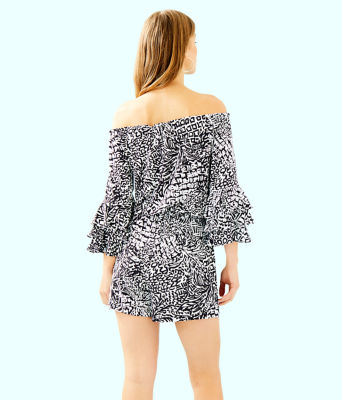 Calla Off-The-Shoulder Romper, Onyx Home Slice, large
