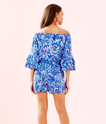 Calla Off-The-Shoulder Romper, Royal Purple Party Wave, large 1