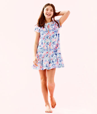 UPF 50+ Girls Ivy Cover-Up, Crew Blue Tint Sea To Shining Sea, large 1