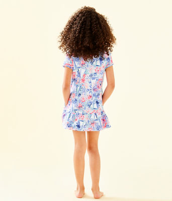 UPF 50+ Girls Ivy Cover-Up, Crew Blue Tint Sea To Shining Sea, large 2