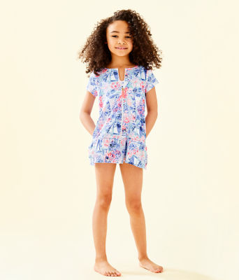 UPF 50+ Girls Ivy Cover-Up, Crew Blue Tint Sea To Shining Sea, large 3