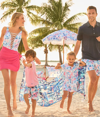 UPF 50+ Girls Ivy Cover-Up, Crew Blue Tint Sea To Shining Sea, large