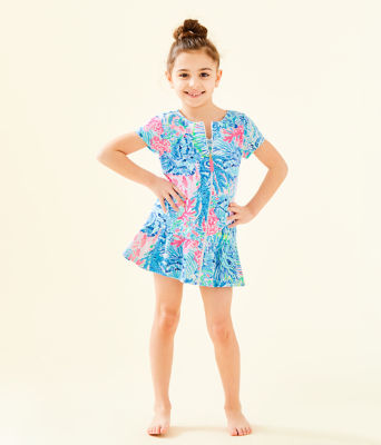 UPF 50+ Girls Ivy Cover-Up, Multi Sink Or Swim, large 3