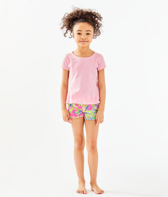 Girls Sondra Peplum Top, Pink Tropics Tint, large