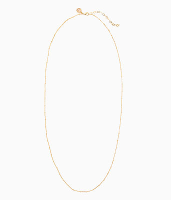 Charm Bar Long Chain, Gold Metallic, large