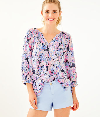 3/4 Sleeve Willa Top, High Tide Navy Its For Shore, large