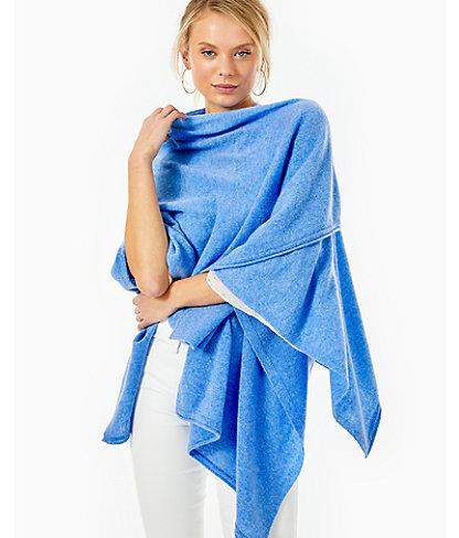 Terri Cashmere Wrap, Heathered Beckon Blue, large 0