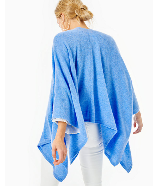 Terri Cashmere Wrap, Heathered Beckon Blue, large