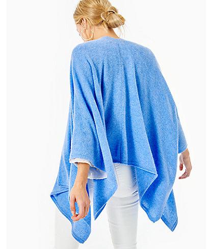 Terri Cashmere Wrap, Heathered Beckon Blue, large 1