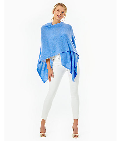 Terri Cashmere Wrap, Heathered Beckon Blue, large 2