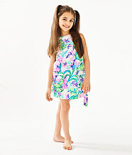 Girls Little Lilly Classic Shift Dress, Amethyst Tint Mermaid In The Shade, large