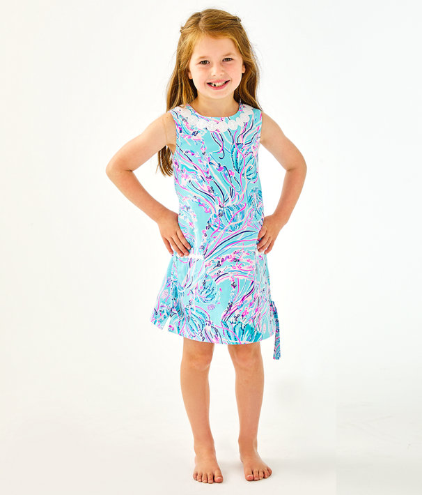 Girls Little Lilly Classic Shift Dress, Bayside Blue Under The Moon, large