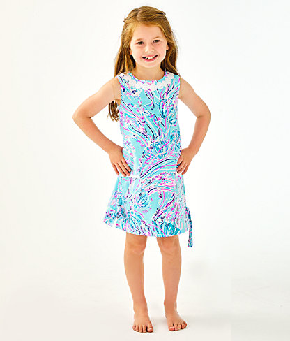 Girls Little Lilly Classic Shift Dress, Bayside Blue Under The Moon, large 0