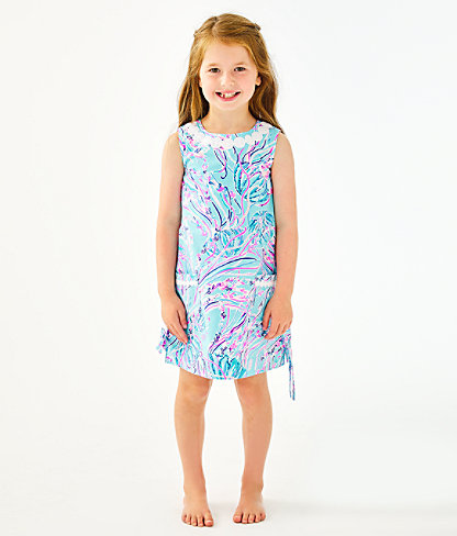 Girls Little Lilly Classic Shift Dress, Bayside Blue Under The Moon, large 2