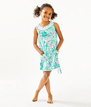 Girls Little Lilly Classic Shift Dress, Bright Agate Green Colorful Camelflage, large
