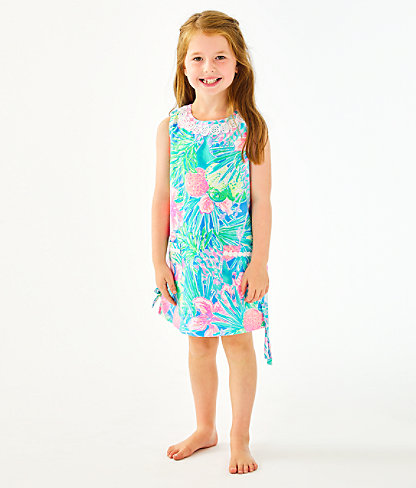 Girls Little Lilly Classic Shift Dress, Multi Swizzle In, large 0