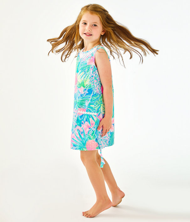 Girls Little Lilly Classic Shift Dress, Multi Swizzle In, large