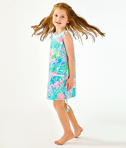 Girls Little Lilly Classic Shift Dress, Multi Swizzle In, large 2