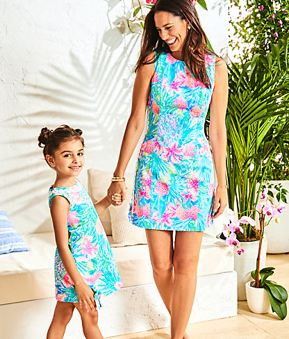 Girls Little Lilly Classic Shift Dress, Multi Swizzle In, large 3