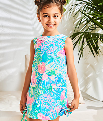 Girls Little Lilly Classic Shift Dress, Multi Swizzle In, large 4