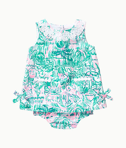 Baby Lilly Infant Shift Dress, Bright Agate Green Colorful Camelflage, large 0