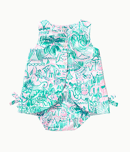 Baby Lilly Infant Shift Dress, Bright Agate Green Colorful Camelflage, large 1