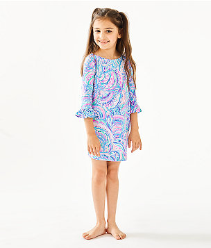 Girls UPF 50+ Mini Sophie Ruffle Dress, Multi Happy As A Clam, large