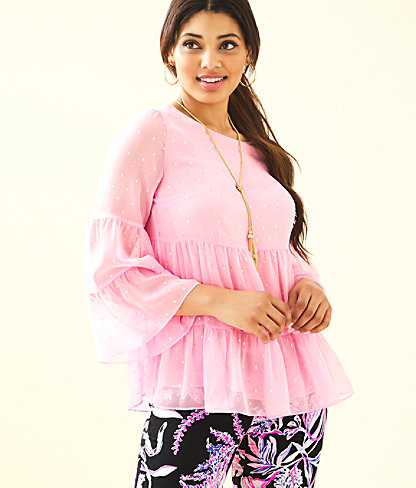 Zazie Flounce Top, Pink Tropics Tint Petite Clip Chiffon, large 0