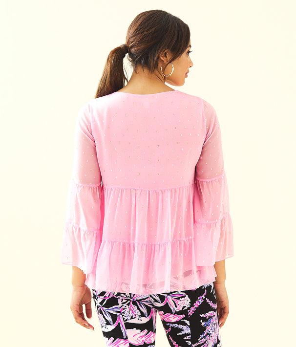 Zazie Flounce Top, Pink Tropics Tint Petite Clip Chiffon, large