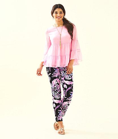 Zazie Flounce Top, Pink Tropics Tint Petite Clip Chiffon, large 2