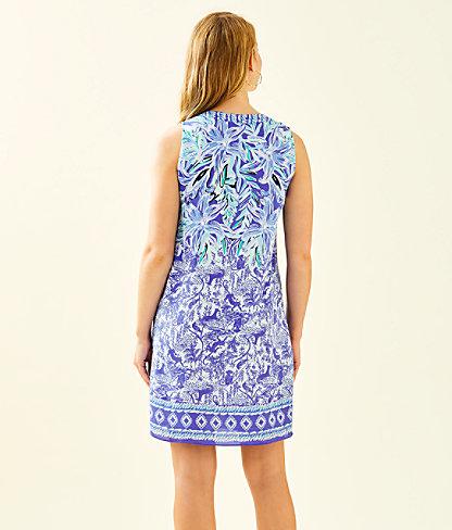 Evah Shift Dress, High Tide Navy Ready Set Gecko Engineered Dress, large 1