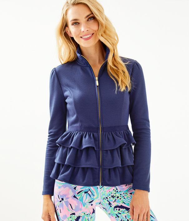 Azela Ruffle Fleece Jacket, True Navy, large