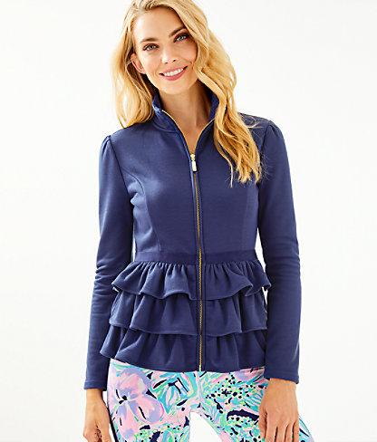 Azela Ruffle Fleece Jacket, True Navy, large 0