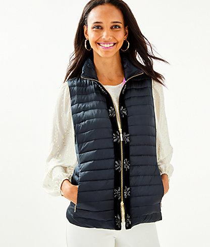 Noella Satin Puffer Vest, Onyx, large 0