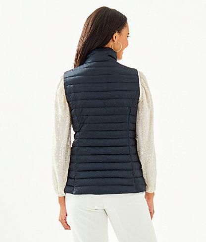 Noella Satin Puffer Vest, Onyx, large 1