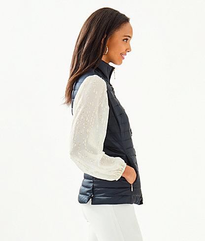 Noella Satin Puffer Vest, Onyx, large 2