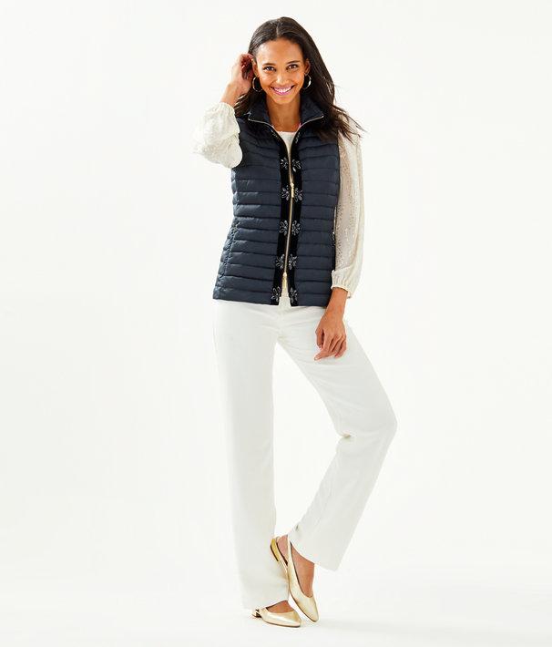 Noella Satin Puffer Vest, Onyx, large