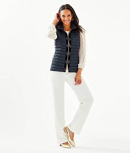 Noella Satin Puffer Vest, Onyx, large 3