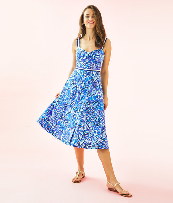 Ellee Midi Dress, Iris Blue Zanzibar Zoo, large